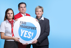Fair Transport Europe. Gewerkschaften fordern mehr Fairness im Transport in Europa.